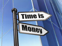 Timeline concept: Time is Money on Building background Royalty Free Stock Images