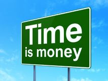 Timeline concept: Time Is money on road sign background. Timeline concept: Time Is money on green road highway sign, clear blue sky background, 3D rendering Stock Photography