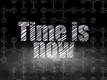 Timeline concept: Time is Now in grunge dark room Royalty Free Stock Images