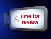 Timeline concept: Time for Review and Clock on billboard background. Timeline concept: Time for Review and Clock on advertising billboard background, 3D Stock Photos