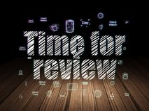 Timeline concept: Time for Review in grunge dark room Stock Photography