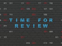 Timeline concept: Time for Review on wall background Stock Photos