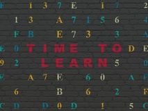 Timeline concept: Time to Learn on wall background. Timeline concept: Painted red text Time to Learn on Black Brick wall background with Hexadecimal Code royalty free illustration