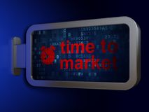 Timeline concept: Time to Market and Alarm Clock on billboard background Royalty Free Stock Photo