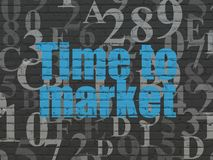 Timeline concept: Time to Market on wall background. Timeline concept: Painted blue text Time to Market on Black Brick wall background with  Hexadecimal Code Royalty Free Stock Images
