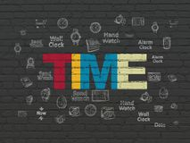 Timeline concept: Time on wall background. Timeline concept: Painted multicolor text Time on Black Brick wall background with Hand Drawing Time Icons stock image