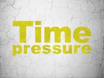 Timeline concept: Time Pressure on wall background. Timeline concept: Yellow Time Pressure on textured concrete wall background Royalty Free Stock Image