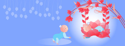 Timeline cover.Baby on a swing Stock Photo