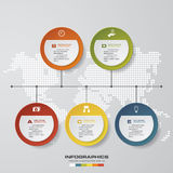 Timeline description. 5 steps timeline infographic with global map background. Stock Image