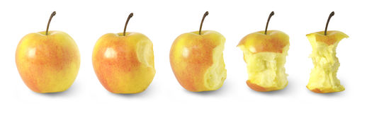 Timeline of eating an apple / with clipping paths Royalty Free Stock Photography