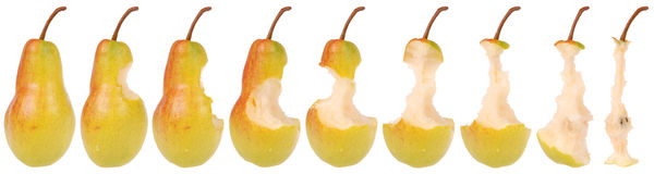 Timeline of eating a Pear Royalty Free Stock Images