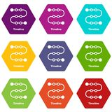Timeline icons set 9 vector. Timeline icons 9 set coloful isolated on white for web Royalty Free Stock Photography