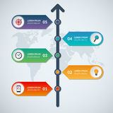 Timeline infographic arrow elements. Business growth concept with 5 options. Steps, parts. Vector template for workflow layout, diagram, chart, report Stock Image