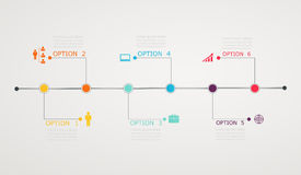 Timeline Infographic with business icons, step by step  horizont Stock Image