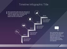 Timeline infographic business template on dark background.  Royalty Free Stock Photo