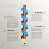 Timeline infographic business template with pencil. vector Stock Photography