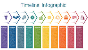 Timeline infographic 10 color arrows. Set horizontal color arrows, template infographic for ten position, options, steps or processes. Business creative concept Royalty Free Stock Photo