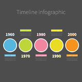 Timeline Infographic with colored round circle and text. Shadow effect Template.. Dark background Flat design. Vector illustration Stock Photography