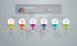 Timeline infographic design and business icons. Royalty Free Stock Photo
