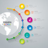 Timeline infographic design and business icons with 6 options. Stock Photos