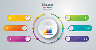 Timeline infographic design and business icons with 6 options. Stock Photo
