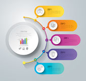 Timeline infographic design and business icons with 5 options. Abstract 3D digital illustration Infographic. Vector illustration can be used for workflow layout Royalty Free Stock Images