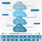 Timeline infographic design template with blue cloud tags Royalty Free Stock Photography