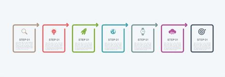 Timeline infographic design template with step structure. Business concept with 7 options pieces or steps. Block diagram, informat. Ion graph, presentations vector illustration