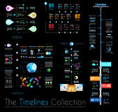Timeline Infographic design templates Set 1 on Black. Royalty Free Stock Photography