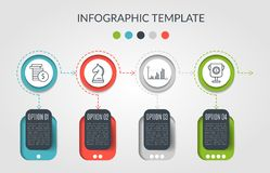 Timeline infographic design vector and marketing icons can be used for workflow layout, diagram, annual report, web. Design. Business concept with 4 options royalty free illustration