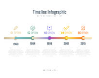 Timeline Infographic with diagrams, options and text Stock Photos