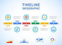 Timeline Infographic with diagrams and text Stock Photo