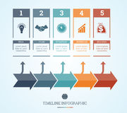 Timeline Infographic for five positions Stock Images
