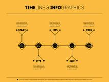 Timeline infographic with icons and buttoms. Info graphic of tec. Hnology or education process with 5 steps. Vector illustration Stock Photography