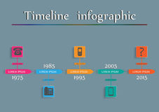 Timeline Infographic - Phone Evolution. Vector. Design template Stock Photos