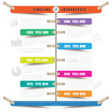 Timeline Infographic report template hanging on a rope with clothespin. Design template, Timeline Infographic report template hanging on a rope with clothespin Royalty Free Stock Photo
