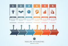 Timeline Infographic for six positions Royalty Free Stock Images