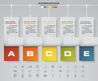 Timeline infographic 5 steps vector design template. with business icons. EPS10 Stock Illustration