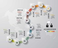 Timeline infographic10 steps vector design template. Can be used for workflow processes. Stock Photos