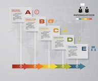 Timeline infographic 5 steps vector design template. Can be used for workflow processes. Royalty Free Stock Image