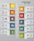 Timeline infographic10 steps vector design template. Can be used for workflow processes, banner, diagram, number options, timeline, work plan, web design Stock Photos