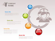 Timeline. Infographic template for company. Timeline with colorful milestones - blue, green, orange, red. Pointer of individual ye. Ars. Design with clock and Royalty Free Stock Images