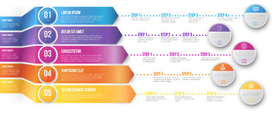 Timeline Infographic Template. 3D Arrows pointed to different ways with several steps for your goals - colored vector graph template on white background Stock Images