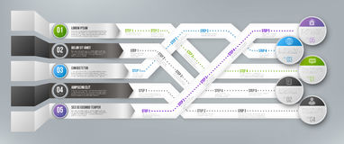 Timeline Infographic Template with Steps. Timeline Infographic 3D Vector Template with Green, Black and Blue Arrows Pointed to Multiple Ways for Different Steps Stock Photos