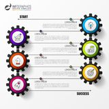Timeline infographic template with 6 steps. Vector. Illustration Royalty Free Stock Photography