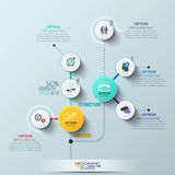 Timeline infographic template. Vector illustration. can be used for workflow layout, banner, diagram, number options. Modern business circle style options banner Royalty Free Stock Images