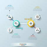 Timeline infographic template. Vector illustration. can be used for workflow layout, banner, diagram, number options. Modern business circle style options banner Stock Photography