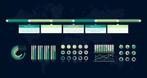 Timeline  infographic. World map Stock Image
