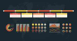 Timeline  infographic. World map Royalty Free Stock Photography