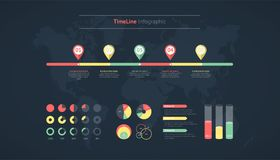 Timeline infographic. World map Royalty Free Stock Images